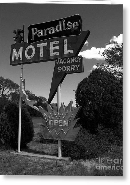 Paradise Road Greeting Cards - Paradise On Route 66 BW Greeting Card by Mel Steinhauer