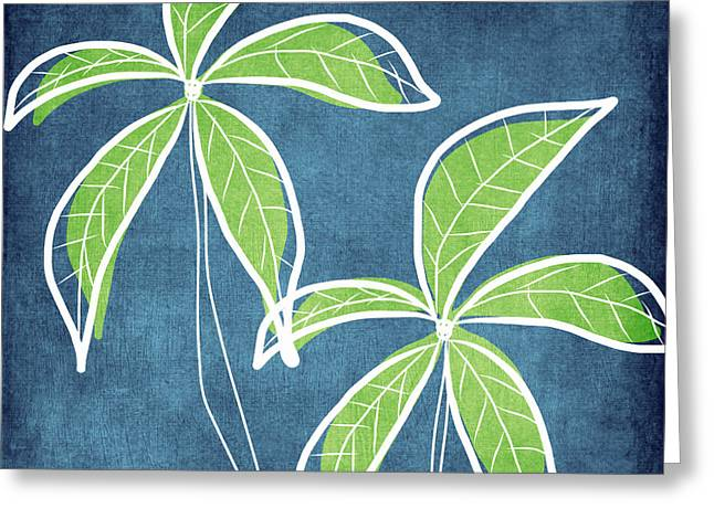 Blue Abstract Art Greeting Cards - Paradise Palm Trees Greeting Card by Linda Woods