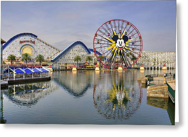 Paradise Pier Attraction Greeting Cards - Paradise Pier Greeting Card by Ricky Barnard