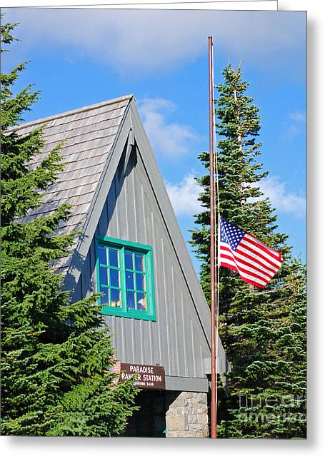 American_flag Greeting Cards - Paradise Ranger Station and Old Glory Greeting Card by Connie Fox