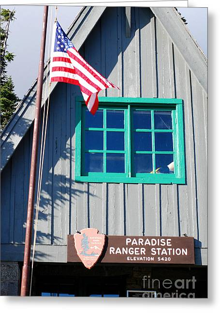 Neil Armstrong The Moon Greeting Cards - Paradise Ranger Station. Mt. Rainier National Park Greeting Card by Connie Fox