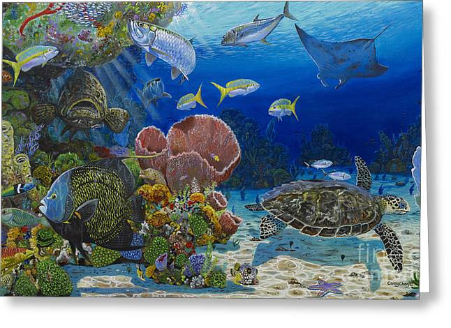 Ocean Turtle Paintings Greeting Cards - Paradise Re0012 Greeting Card by Carey Chen