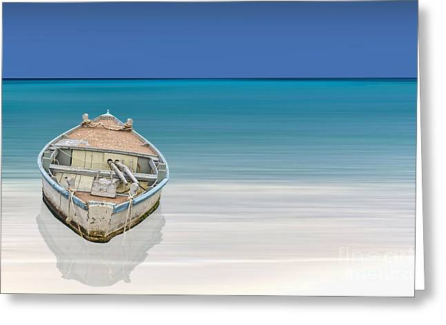 Row Boat Greeting Cards - Paradise Greeting Card by Sheldon Kralstein