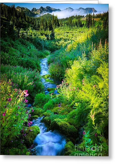 Picturesque Greeting Cards - Paradise Stream Greeting Card by Inge Johnsson
