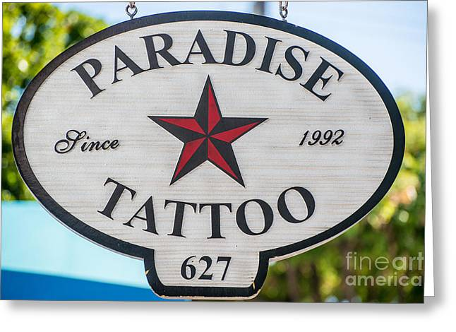 Body Piercing Greeting Cards - Paradise Tattoo Key West  Greeting Card by Ian Monk