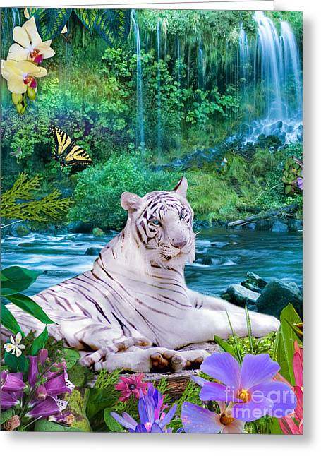 White Tiger Greeting Cards - Paradise Tiger Greeting Card by Alixandra Mullins