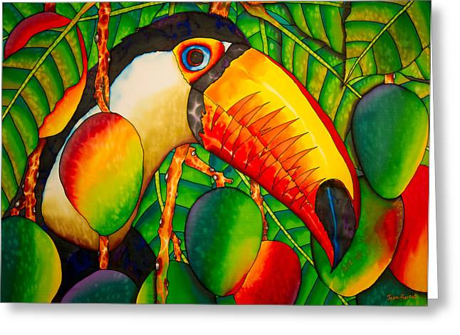 Orange Tapestries - Textiles Greeting Cards - Paradise Toucan Greeting Card by Daniel Jean-Baptiste