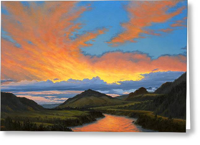 Yellowstone River Greeting Cards - Paradise Valley Sunset  Greeting Card by Paul Krapf