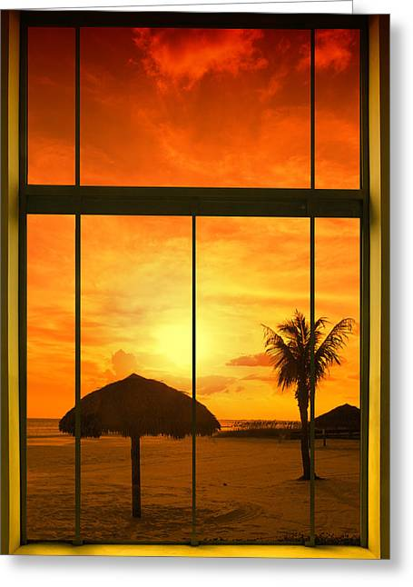 Sun Shade Greeting Cards - Paradise View I Greeting Card by Melanie Viola
