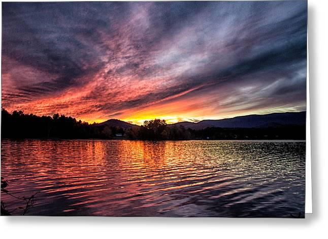 Lake Paradox Greeting Cards - Paradox Lake Sunset Greeting Card by Carolyn Odell