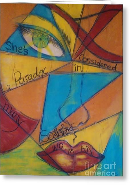 Adriana J Garces Greeting Cards - Paradox Woman Greeting Card by Adriana Garces