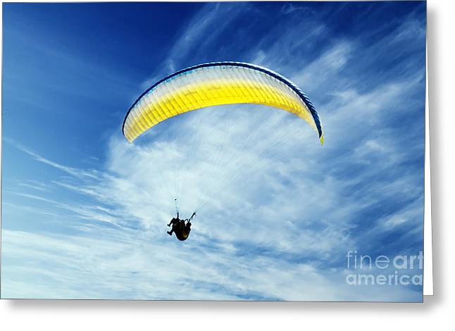 Man Pyrography Greeting Cards - Paraglider Greeting Card by Jelena Jovanovic