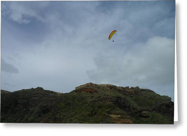 Beach Photograph Pyrography Greeting Cards - Paraglider Greeting Card by Olivia CLover
