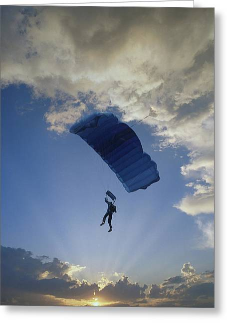 Enjoying Greeting Cards - Paraglider Silhouette  Sunset Composite Greeting Card by Cliff Reidinger