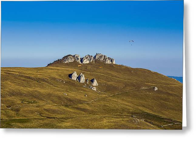 Romania Photographs Greeting Cards - Paragliding in Romania Greeting Card by Mountain Dreams