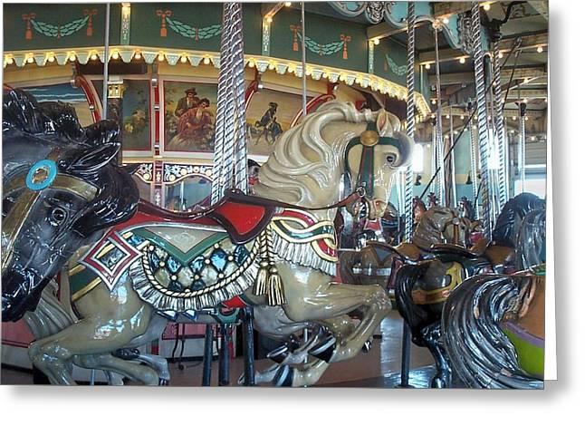 Hull Ma Greeting Cards - Paragon Carousel Nantasket Beach Greeting Card by Barbara McDevitt
