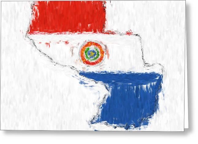 Dap Greeting Cards - Paraguay Painted Flag Map Greeting Card by Antony McAulay