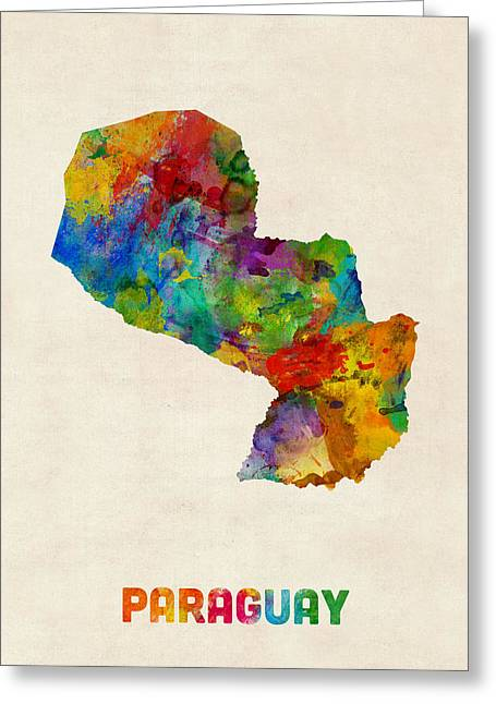Maps Greeting Cards - Paraguay Watercolor Map Greeting Card by Michael Tompsett