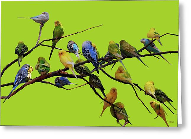 Parakeet Paradise Greeting Card by DiDi Higginbotham