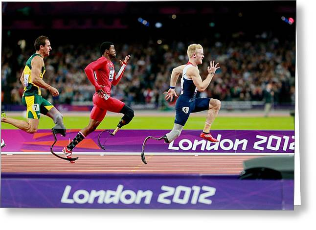 Game 6 Greeting Cards - Paralympic sprinters, London 2012 Greeting Card by Science Photo Library