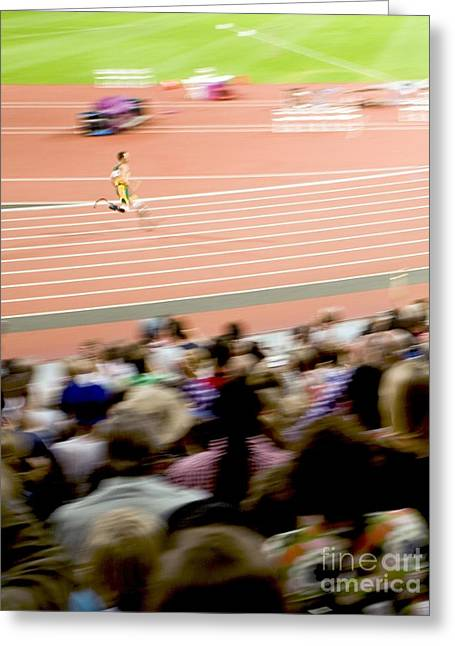 Disability Greeting Cards - Paralympics Track Race Greeting Card by Carlos Dominguez