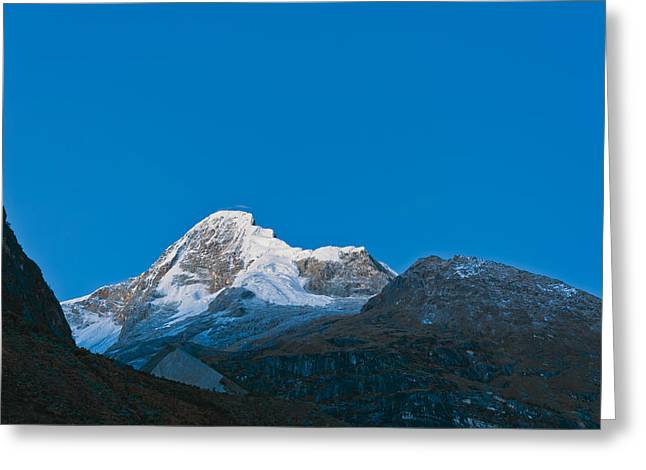 Snow-covered Landscape Greeting Cards - Paramount mountain  Greeting Card by Ulrich Schade
