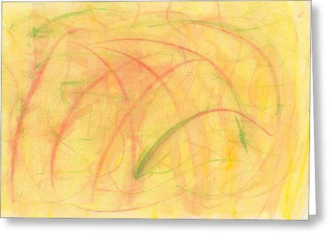 Yellow Line Drawings Greeting Cards - Paranoid in Reverse-Horizontal Greeting Card by Kelly K H B