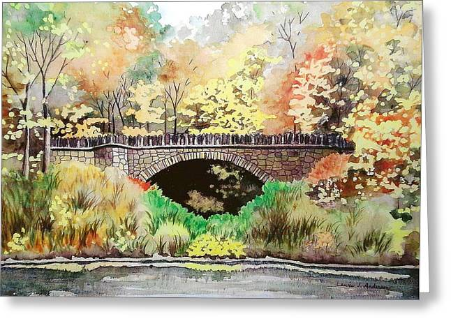 Mills Glacier Greeting Cards - Parapet Bridge - Mill Creek Park Greeting Card by Laurie Anderson