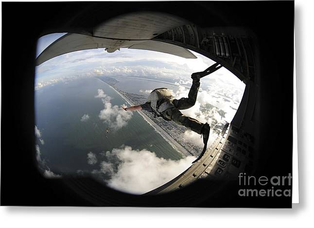Us Open Photographs Greeting Cards - Pararescuemen Jumps From An Hc-130pn Greeting Card by Stocktrek Images