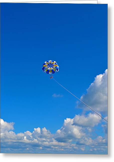 Parasail Greeting Cards - Parasail against Blue Sky Greeting Card by Bill Morris