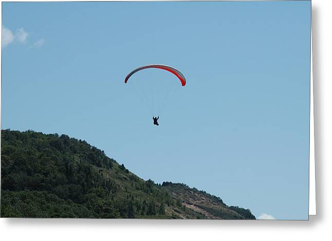 Parasail Greeting Cards - Parasail over the Beach Greeting Card by Scott Angus