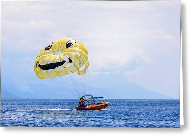 Sports Face Off Greeting Cards - Parasailing With Smiley Face Greeting Card by Colin Utz