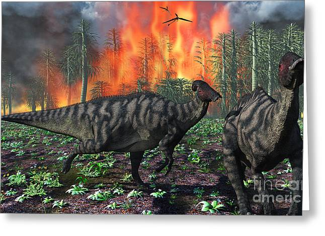 Fire In The Wood Greeting Cards - Parasaurolophus Duckbill Dinosaurs Greeting Card by Mark Stevenson