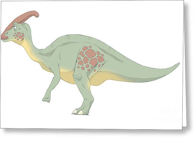 Paleontology Greeting Cards - Parasaurolophus Pencil Drawing Greeting Card by Alice Turner