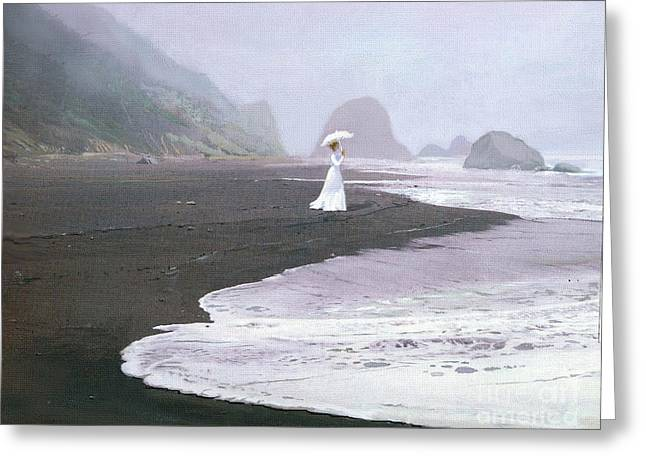 Foggy Ocean Greeting Cards - Parasol Beach Greeting Card by Robert Foster