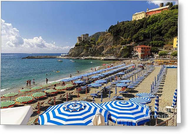 Beach Activities Greeting Cards - Parasols and Lounge Chairs Greeting Card by George Oze
