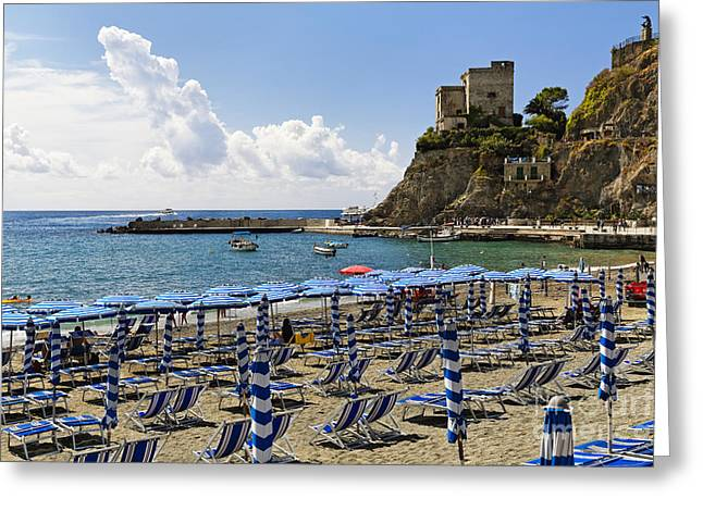 Beach Activities Greeting Cards - Parasols and Lounge Chairs on Monterosso Beach Greeting Card by George Oze