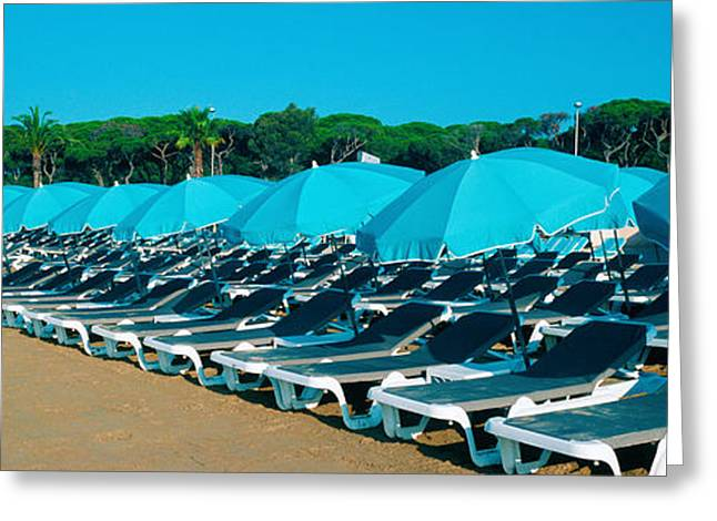 Lounge Photographs Greeting Cards - Parasols With Lounge Chairs Greeting Card by Panoramic Images