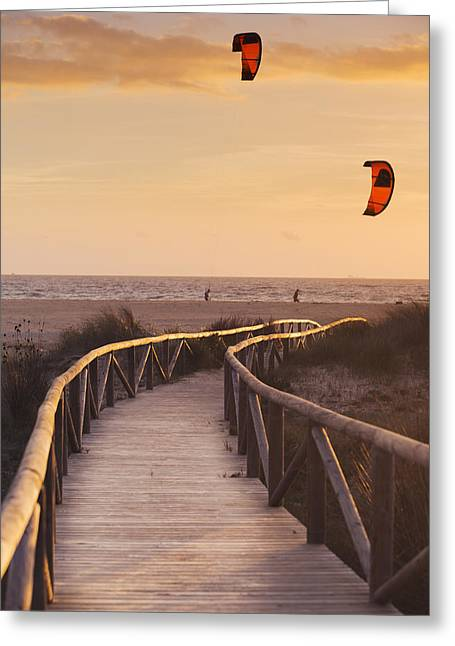 Parasurfing Tarifa, Costa De La Luz Greeting Card by Ben Welsh