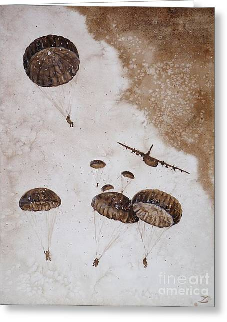 Interior Watercolour Greeting Cards - Paratroopers Greeting Card by Zaira Dzhaubaeva