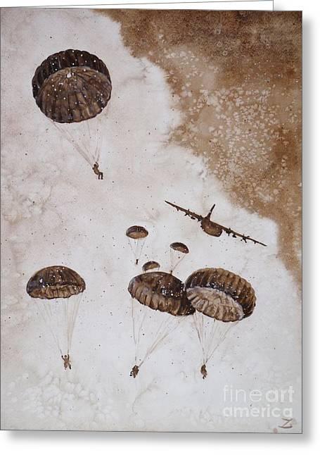 Paratroopers Greeting Card by Zaira Dzhaubaeva