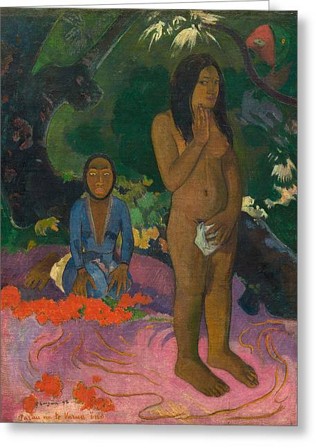 Primitive Greeting Cards - Parau na te Varua ino Greeting Card by Paul Gaugin