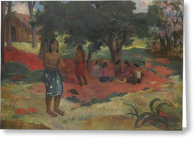 Whispers Greeting Cards - Parau Parau , 1892 Greeting Card by Paul Gauguin