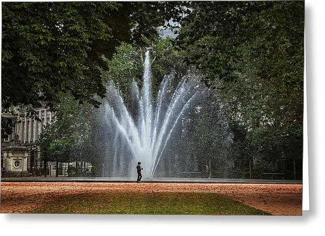 Bruxelles Greeting Cards - Parc de Bruxelles Fountain Greeting Card by Joan Carroll
