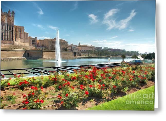 Religious Digital Greeting Cards - Parc de la Mer Mallorca Spain Greeting Card by John Edwards