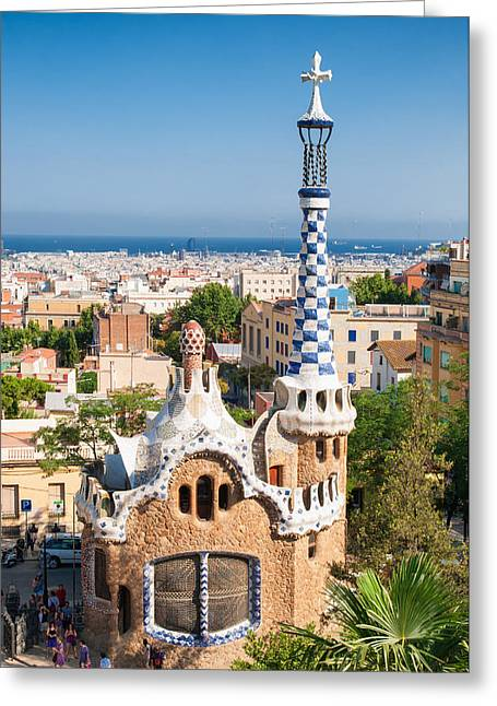 Parc Guell Barcelona Antoni Gaudi Greeting Card by Matthias Hauser