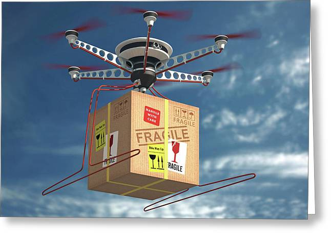 Parcel Delivered By Drone Greeting Card by Ktsdesign