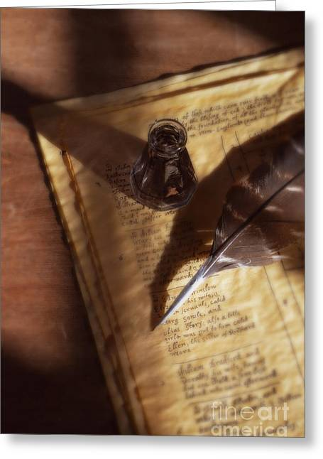 Historical Documents Greeting Cards - Parchment with Ink and Quill Pen Greeting Card by Jill Battaglia