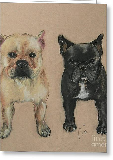 Puppies Pastels Greeting Cards - Pardon My French Greeting Card by Cori Solomon