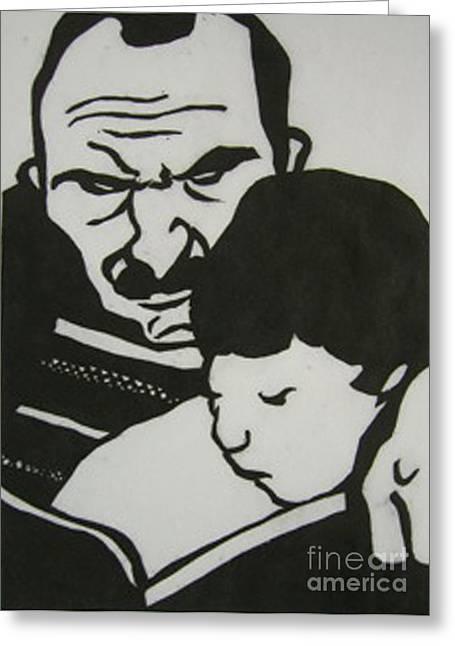 Children Reliefs Greeting Cards - Parent et enfant Greeting Card by Yoshie Ochiai